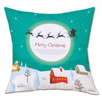 Christmas Moon Village Print Linen Sofa Pillowcase - COLORMIX COLORMIX