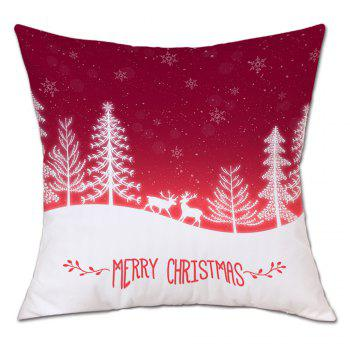 Christmas Trees Deers Print Linen Sofa Pillowcase - RED RED