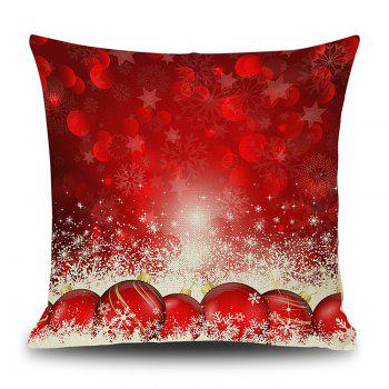 Christmas Baubles Snowflake Print Linen Sofa Pillowcase - RED RED
