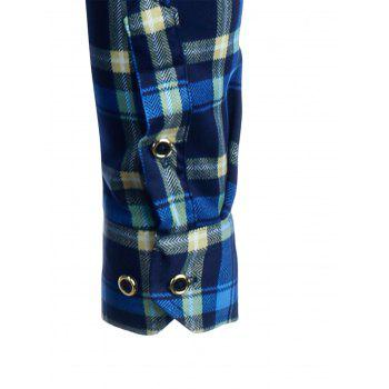 Tartan Print Long Sleeve Fleece Shirt - COLORMIX 3XL
