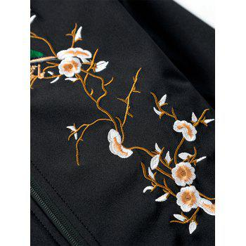 Florals Embroidered Rib Panel Bomber Jacket - BLACK XL