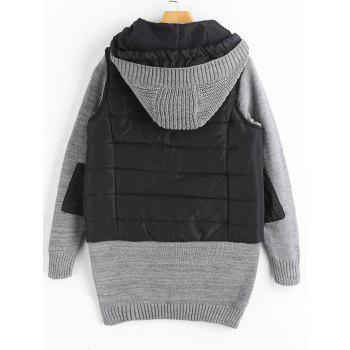 Knit Panel Padded Hooded Longline Coat - COLORMIX S