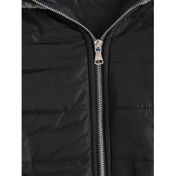 Knit Panel Padded Hooded Longline Coat - COLORMIX XL