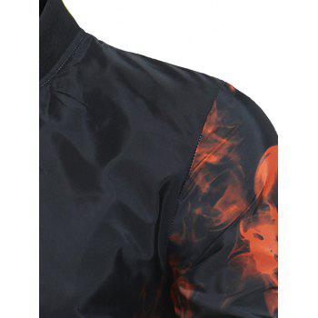 Flame Print Zip Up Lightweight Bomber Jacket - RED M