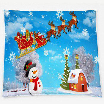 Christmas Snowscape Double Side Printed Throw Pillow Case - SKY BLUE W18 INCH * L18 INCH
