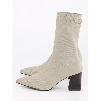 Fold Over Pointed Toe Block Heel Boots - APRICOT 36