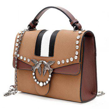 Birds Embellished Rhinestone Striped Crossbody Bag - BROWN