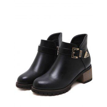 Chunky Heel Buckled Side Zip Ankle Boots - BLACK 37