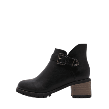 Chunky Heel Buckled Side Zip Ankle Boots - BLACK 38