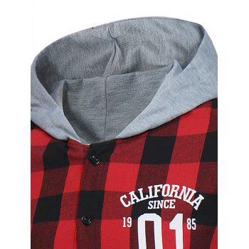 Graphic Print Long Sleeve Hooded Plaid Shirt - RED S