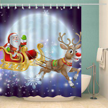 Santa Elk Printed Polyester Waterproof Shower Curtain - PURPLE XL