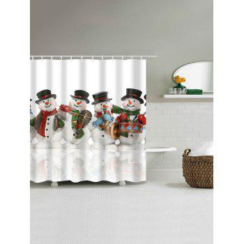 Waterproof Christmas Snowman Printed Bathroom Shower Curtain - COLORMIX XL