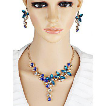 Vintage Crystal Floral Embellished Necklace Earrings Jewelry Set - BLUE