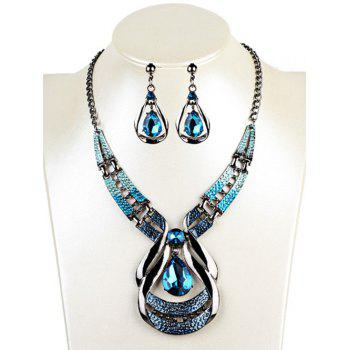 Hollow Out Water Drop Shape Embellished Faux Sapphire Jewelry Set