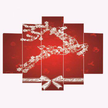 Christmas Running Elk Print Wall Art Canvas Paintings - RED/WHITE 1PC:8*20,2PCS:8*12,2PCS:8*16 INCH( NO FRAME )