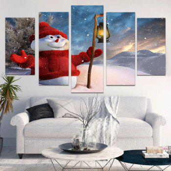 Taking Lamp Snowman Print Wall Art Canvas Paintings - COLORFUL 1PC:8*20,2PCS:8*12,2PCS:8*16 INCH( NO FRAME )