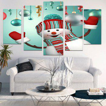 Christmas Snowman Print Unframed Wall Art Canvas Paintings - COLORFUL 1PC:8*20,2PCS:8*12,2PCS:8*16 INCH( NO FRAME )