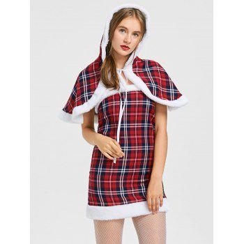 Hooded Plaid Capelet with Tube Dress - CHECKED S