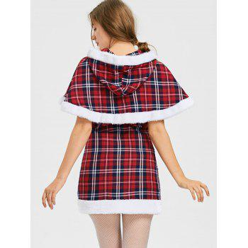 Hooded Plaid Capelet with Tube Dress - M M