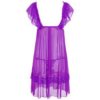 Plunge Neck Mesh Sheer Babydoll - LIGHT PURPLE LIGHT PURPLE