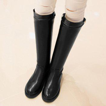Back Zip Faux Leather Buckled Mid-calf Boots - BLACK 39