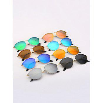 Cat Eye Anti UV Mirrored Sunglasses - GOLDEN/ICE BLUE
