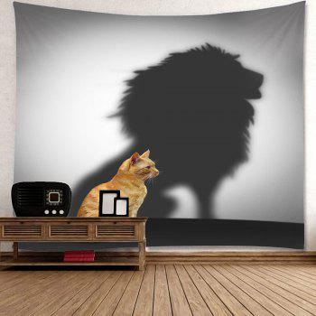 Cat And Lion Patterned Hanging Wall Art Tapestry - BROWN/GREY W79 INCH * L71 INCH