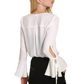 Bell Sleeve Cut Out Chiffon Blouse - WHITE L