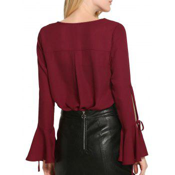 Bell Sleeve Cut Out Chiffon Blouse - WINE RED S