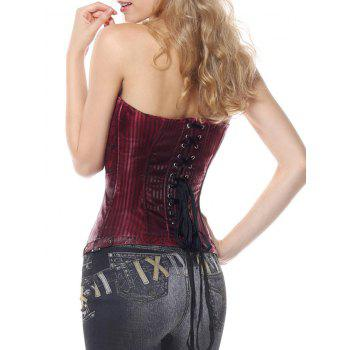 Brocade Striped Lace Up Corset Top - WINE RED S