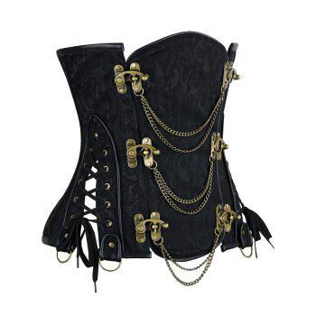 Steampunk Corset with Chains - BLACK S