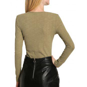 Long Sleeve V Neck Lace Up Sweater - LIGHT GREEN S