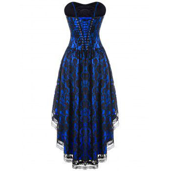 Strapless Lace Up Dip Hem Corset Dress - BLUE M