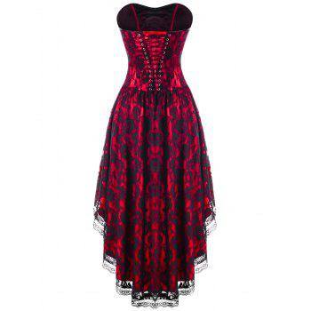Strapless Lace Up Dip Hem Corset Dress - RED RED