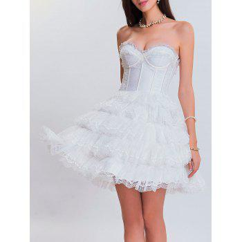 Club Lace Tiered Corset Dress - WHITE WHITE