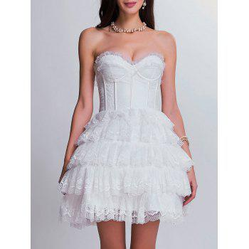 Club Lace Tiered Corset Dress - WHITE XL