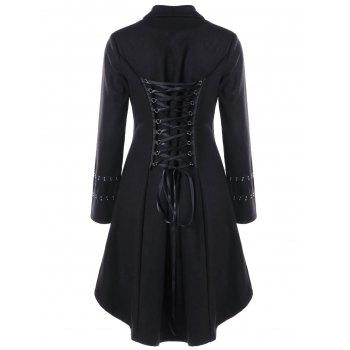 Metal Embellished Lace Up Dip Hem Coat - BLACK 2XL