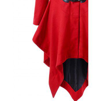 Christmas Horn Button Hooded Handkerchief Coat - RED RED