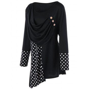 Plus Size Polka Dot Ruched Asymmetric Top - BLACK XL