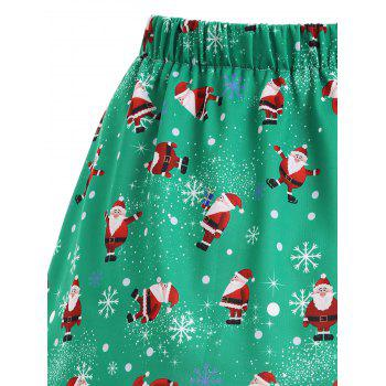 Christmas Santa Claus Snowflake Plus Size Skirt - GREEN 3XL