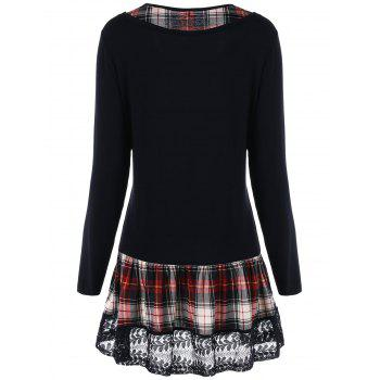 Plus Size Lace Panel Plaid Long Sleeve T-shirt - BLACK XL