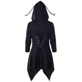 Lace Up Manteau tunique à capuche - Noir L