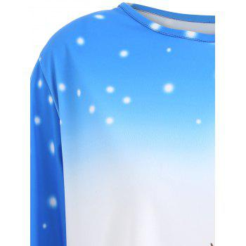 Top Tunique Long à Motif Noël Grande Taille - Bleu XL