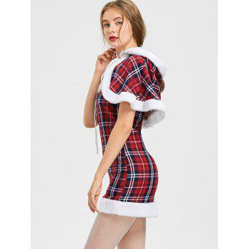 Hooded Plaid Capelet with Tube Dress - CHECKED CHECKED