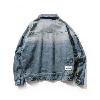Drop Shoulder Sleeve Insert Design Denim Jacket - BLUE GRAY 2XL