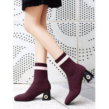Striped Grommet Chunky Heel Boots - RED 37