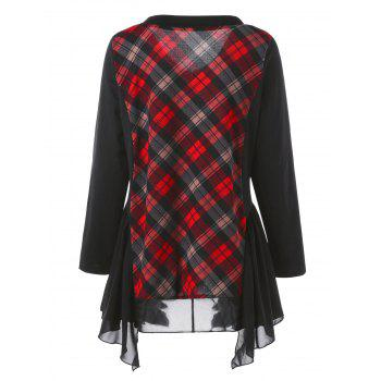 Plus Size Long Sleeve Panel Asymmetric Plaid T-shirt - CHECKED 3XL