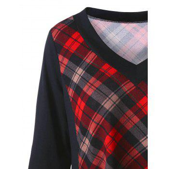 Plus Size Long Sleeve Panel Asymmetric Plaid T-shirt - CHECKED 4XL