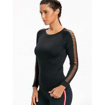 Sports Round Neck Cutout Long Sleeve Top - BLACK S