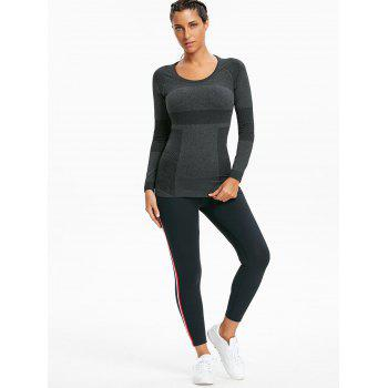Ribbed Stretch Workout Long Sleeve T-shirt - BLACK M